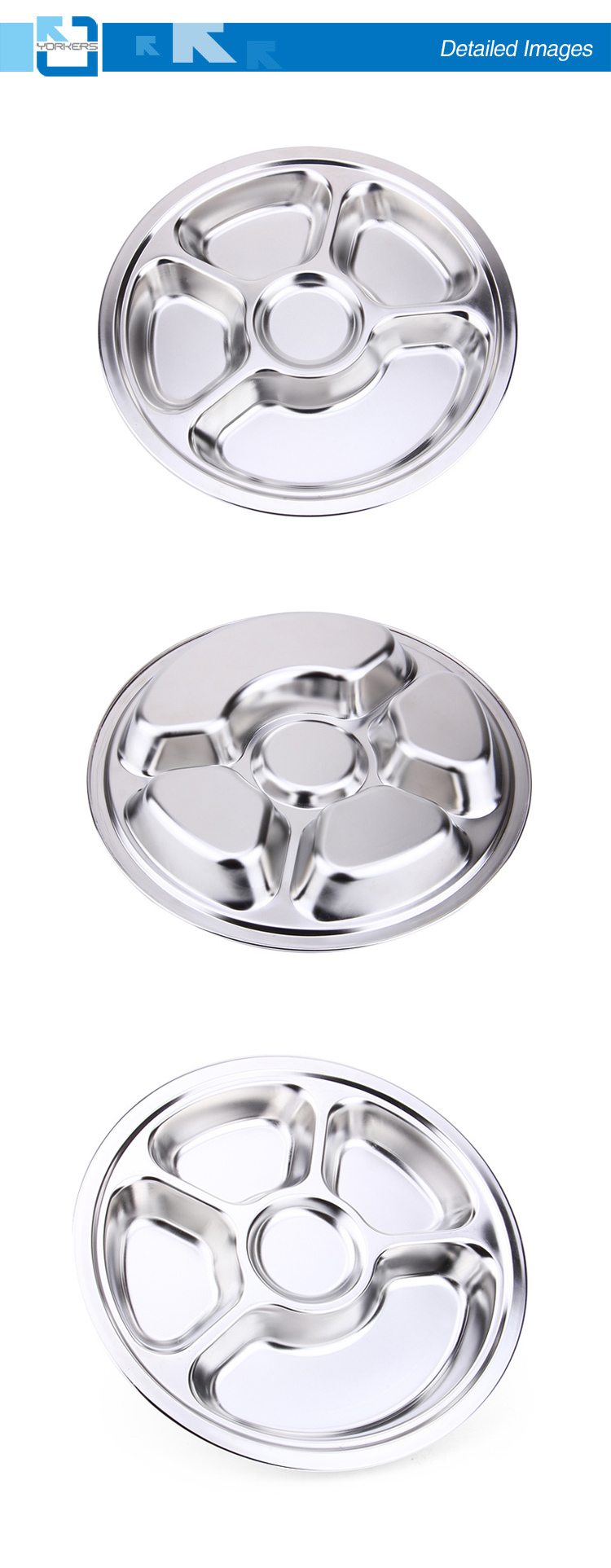 5 Compartment School Lunch Box/Stainless Steel Round Lunch Plate