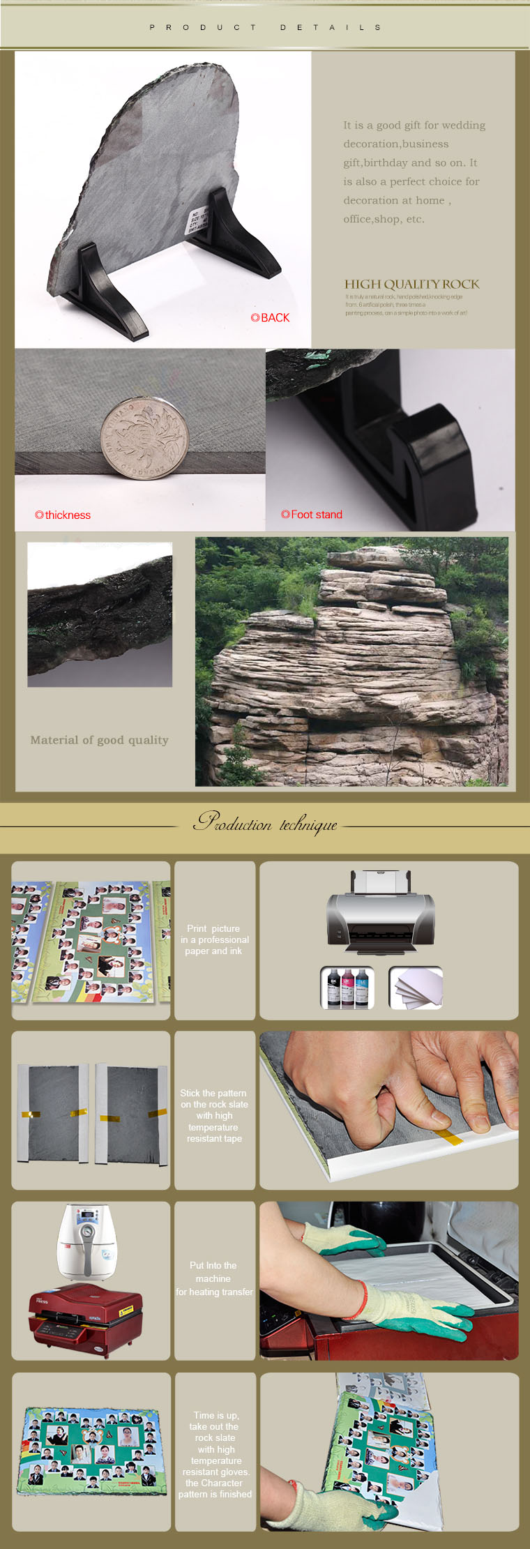 DIY Heat Transfer Printing Coated Sublimation Blank Photo Rock Slate