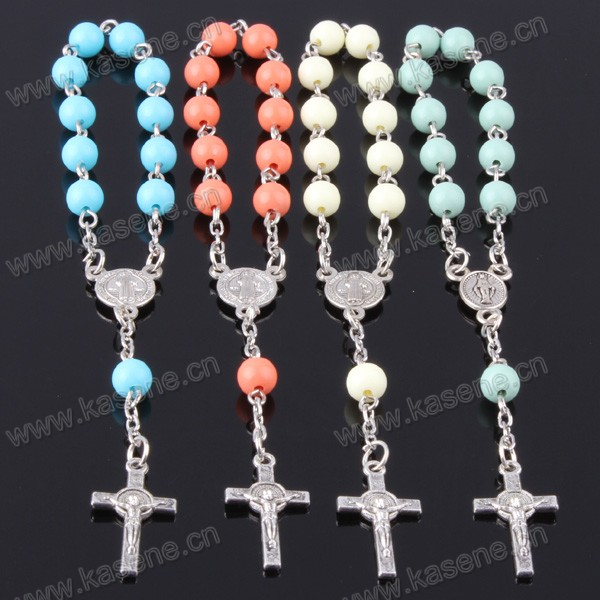 Acceptable Custom Plastic Beads Rosary Bracelet Used as Christian Gifts
