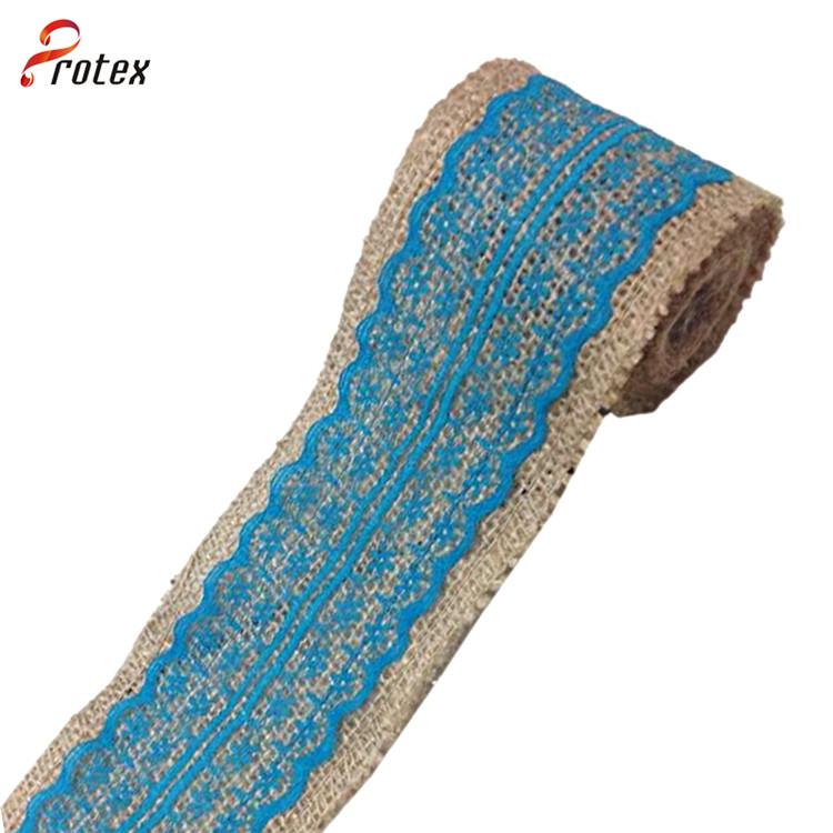 Burlap Ribbon with Blue Lace