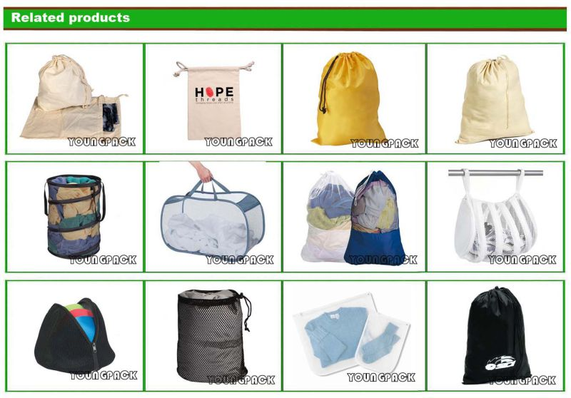 Promotional Custom Black Drawstring Laundry Nylon Mesh Bag 40X60cm