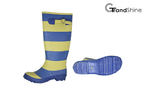 Wellie Rainboot with Colorful Stripe