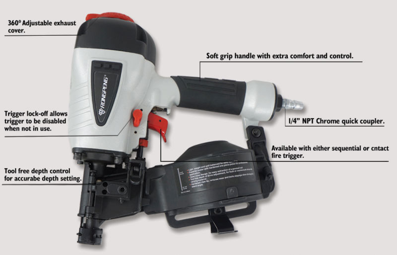 Rongpeng Cn45 3/4-Inch to 1-3/4-Inch Coil Roofing Nailer
