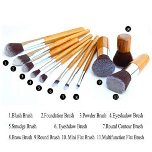 11 PCS Professional Wood Foundation Brushes Kabuki Makeup Brushes