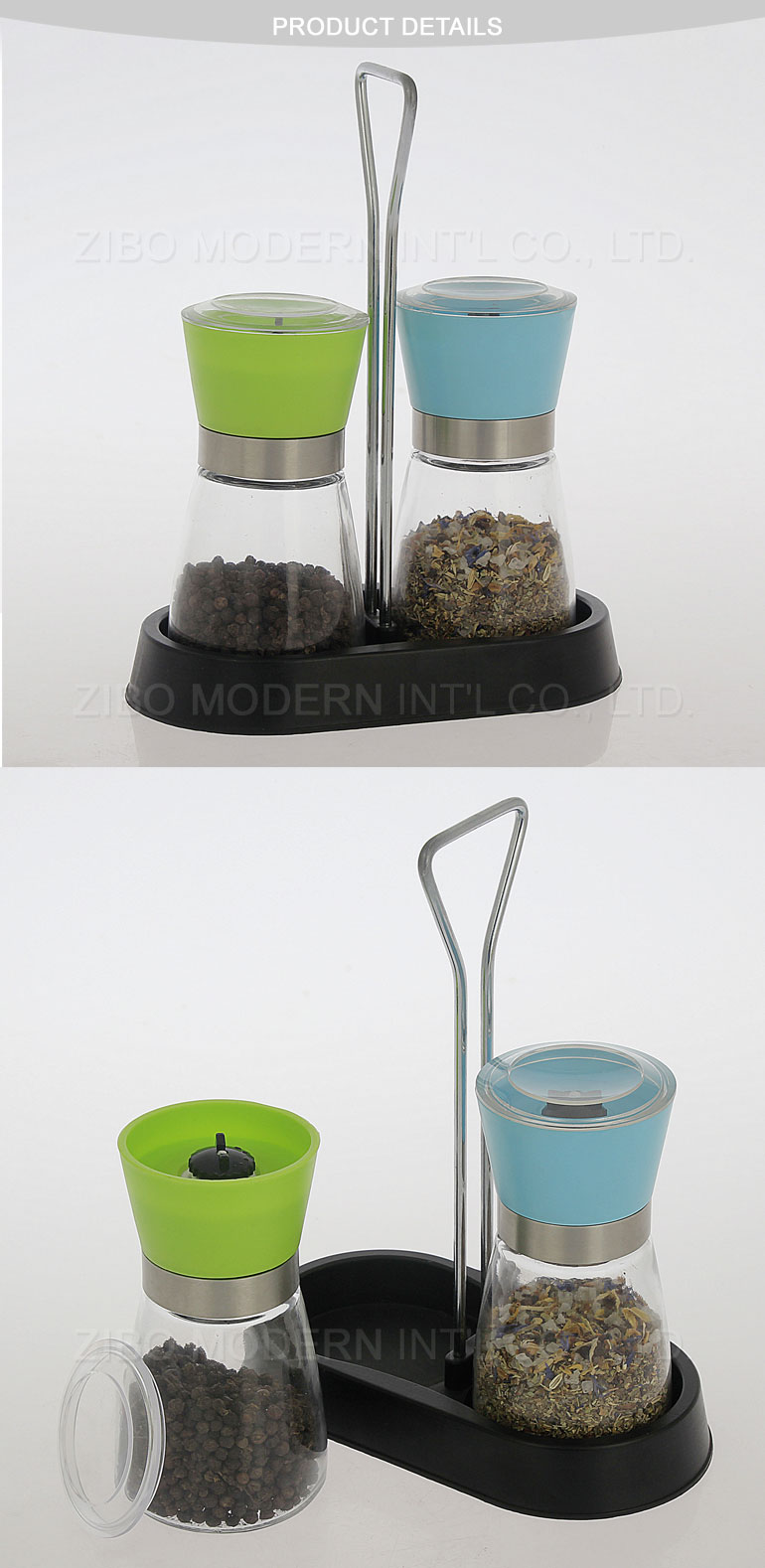 Wholesale New Design Strong Ceramic Rotor Salt Grinder Set with Spice Rack