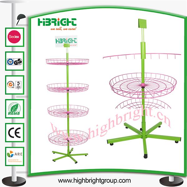 4 Tier Ajustable Floor Standing Wire Basket Spinner