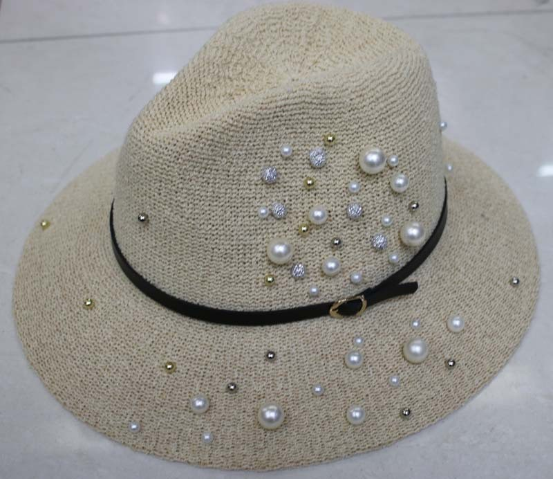Custom Paper Straw Fedora Hat with Pearl for Ladies