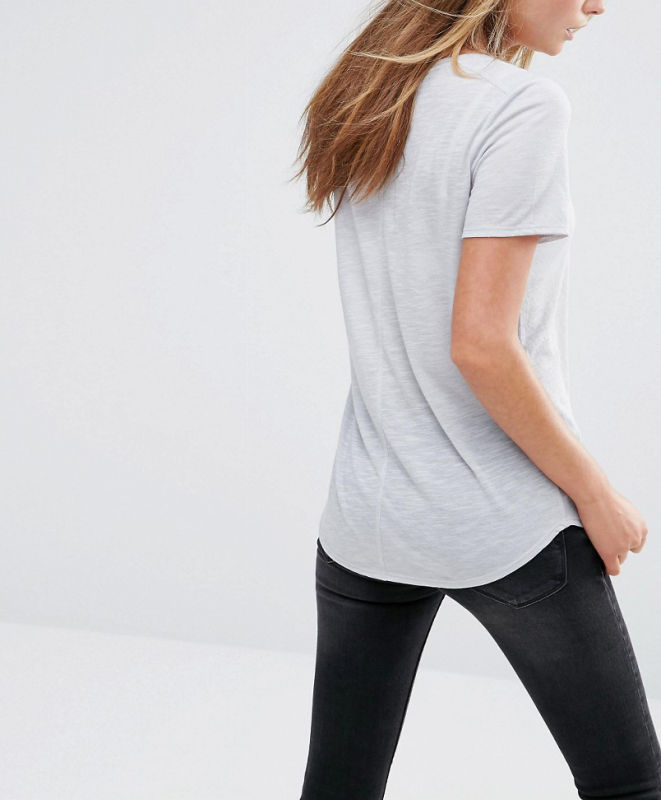 Cheap Polyester Fashion Jersey Pocket on Front Women Tee Tshirt