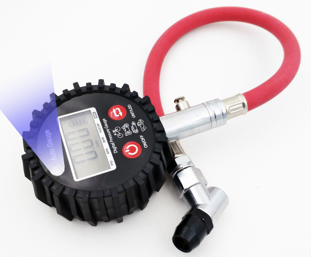 Digital Tire Pressure Gauge 230 Psi 4 Settings for Car Truck Bicycle with Backlit LCD and Low Battery Indicator, AAA Battery Included