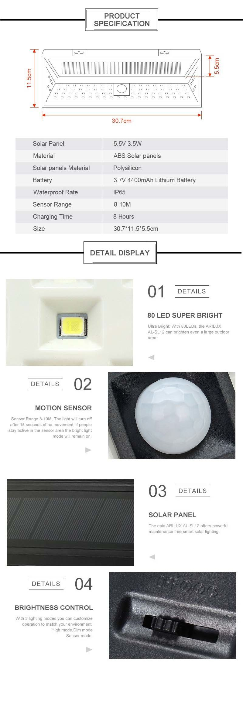 PIR Motion Sensor 80 LED Solar Light Outdoor Solar Powered LED Garden Light Waterproof Emergency Wall Lamp