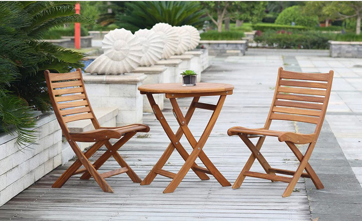 Outdoor Folding Table Nature Color for Patio Garden Lawn Coffee House Backyard Wood Furniture