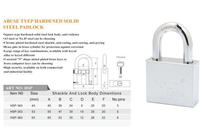 Abus Type Hardend Solid Steel Padlock with Electroplate