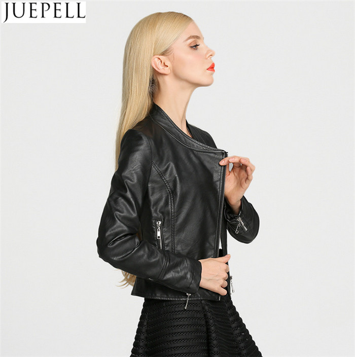 Europe and The New Women's Ladies Short Paragraph PU Leather Motorcycle Jacket Leather Jacket Street Style Women Jacket