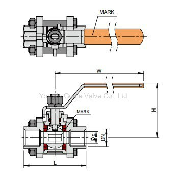 3 PC 1000 Wog Metaled Seated Stainless Steel Threaded Ball Valve (Q11H)