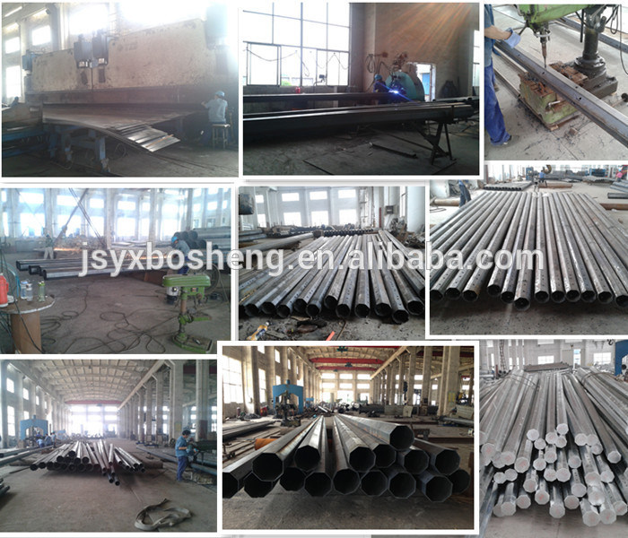 7.7m Single Arm Tubular Galvanized Lighting Steel Pole