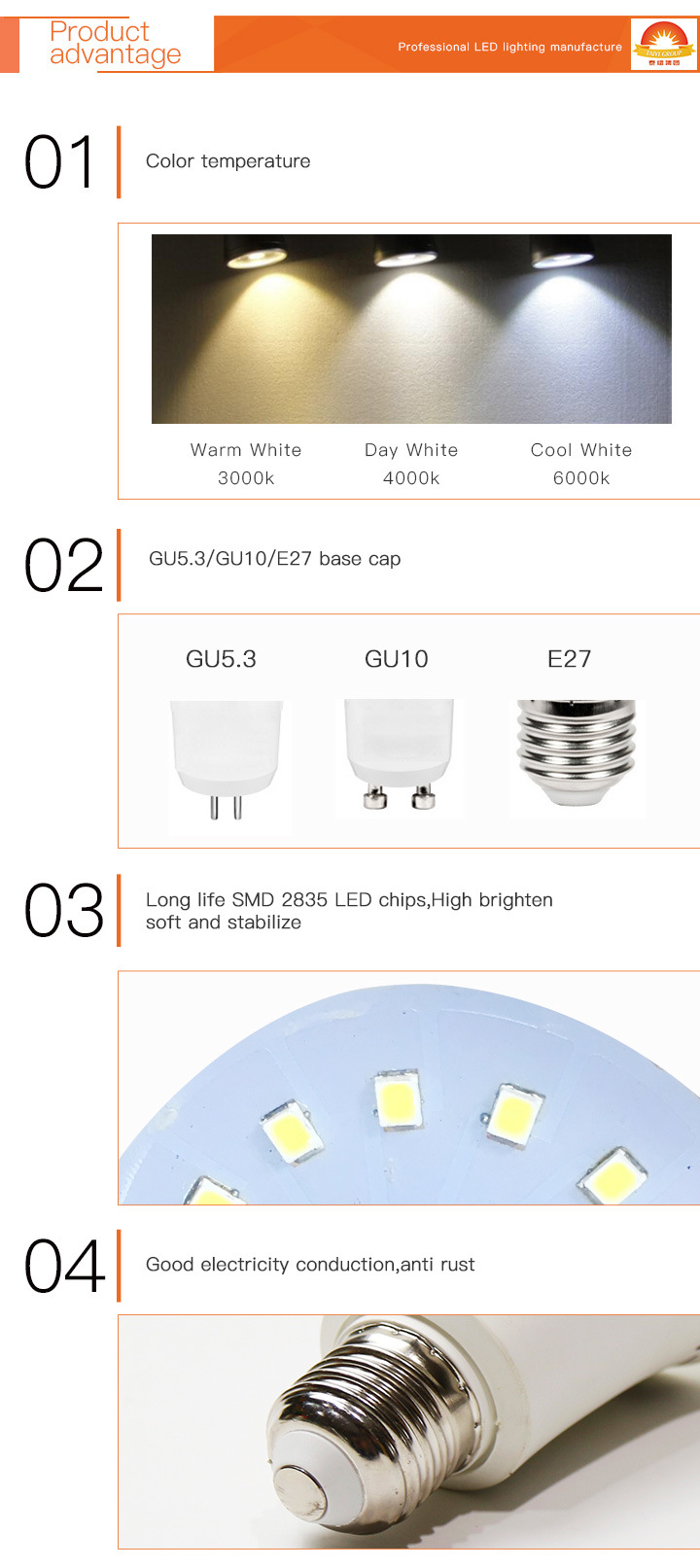 Hot Sale LED Spotlight MR16 Gu5.3 with Lens LED Lighting 2700K-7500K