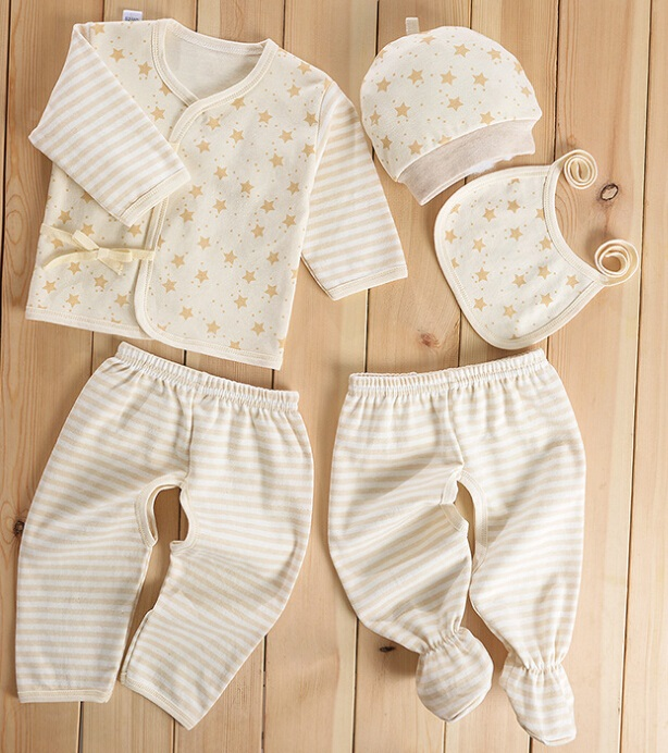 Colored Cotton Star and Stripes Newborn Baby Clothes 5PCS