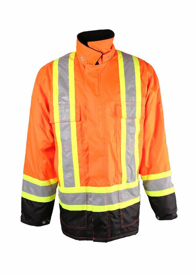 Hi-Vis Orange /Black Safety Refelctive Mens Waterproof Winter Parka Coat