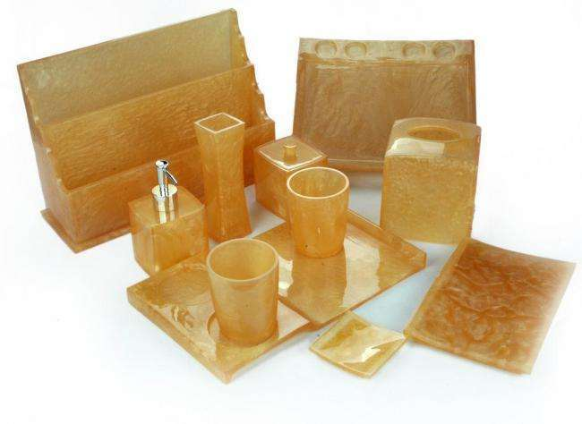5 Piece Marble White Acrylic Bathroom Accessories (Tissue Box, Tea coffee Holder, Tootbrush Box, Drink holder etc)