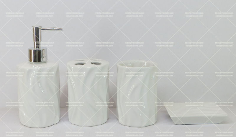 Embossed Ceramic Bathroom Set on Promotion