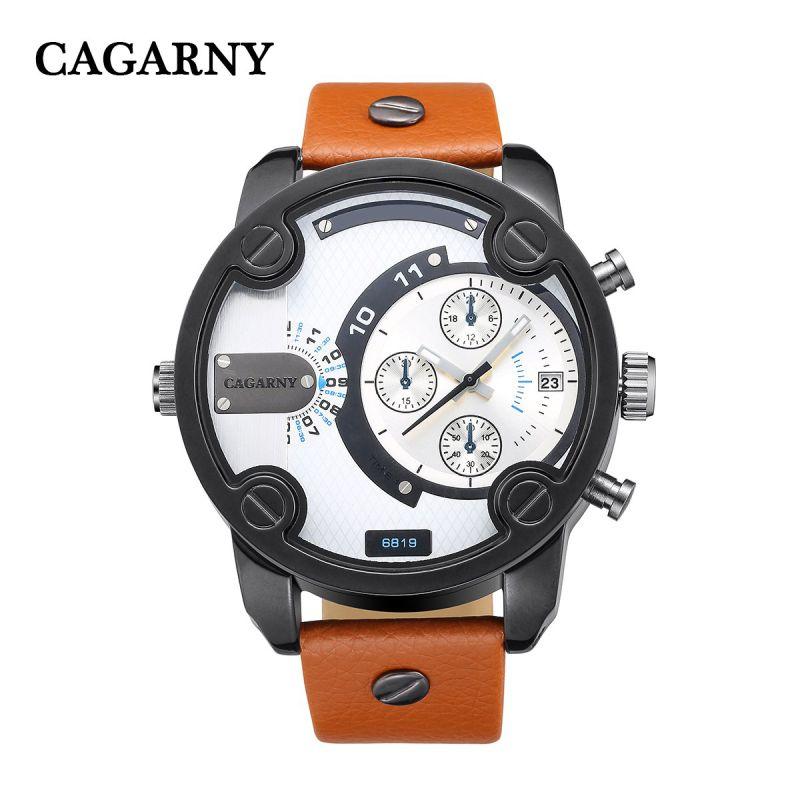 Cagarny 6819 Mens Wristwatch Quartz Movement Leather Strap Black Case