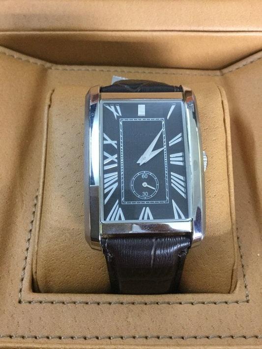 Authentic Big Brand Leather Strap Watch Ss Case Quartz Movement
