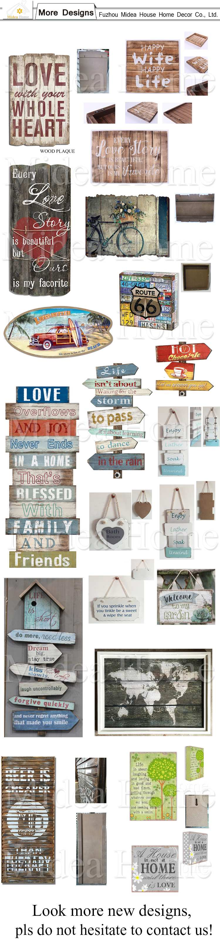 Europe Style Novelty Wood Signs, Wholesale Wood Craft Signs