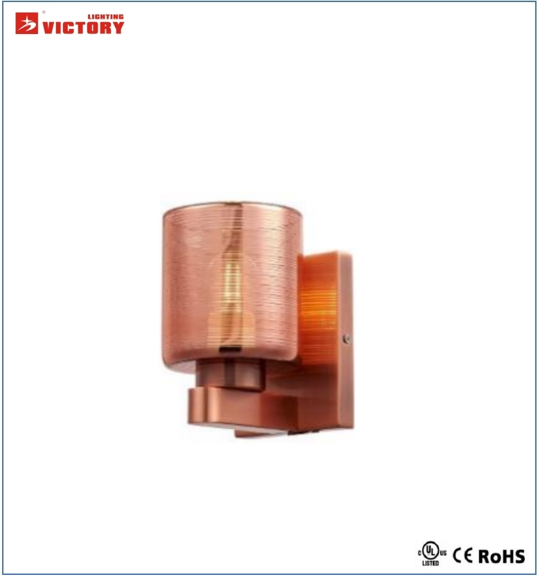 Ce Approval Simplism Decorative Hotel Gold Glass Wall Light