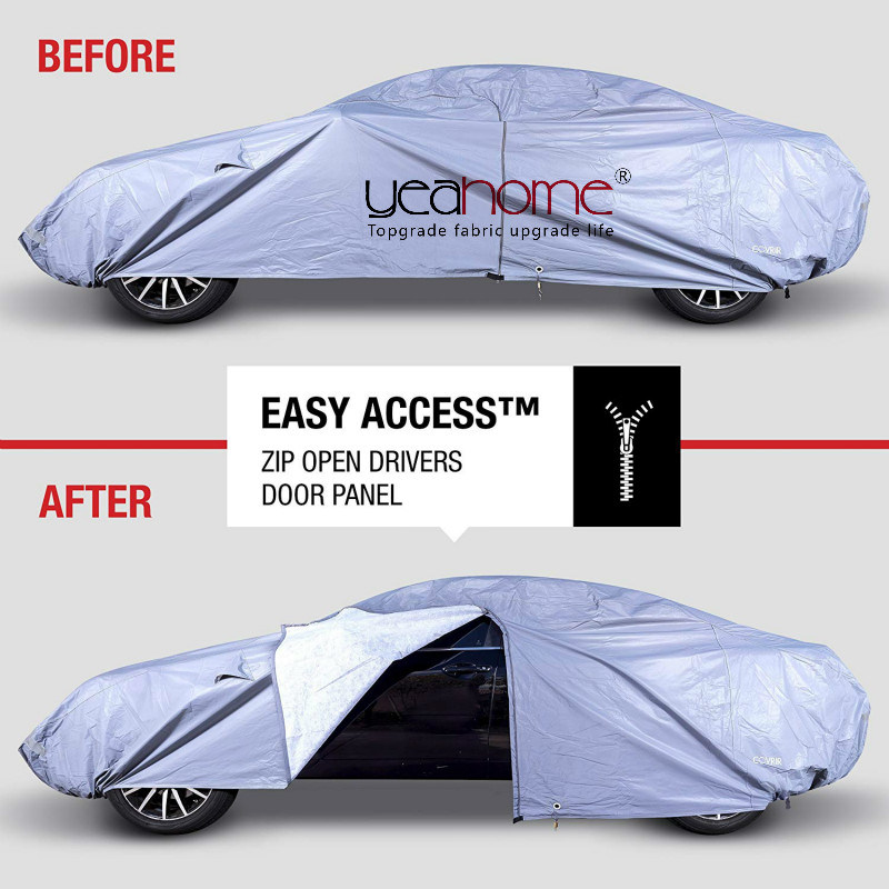 Universal Waterproof Car Cover. All Weather Vehicle Storage Protection (Indoor Dust, Outdoor Rain, Winter Snow, Sun)