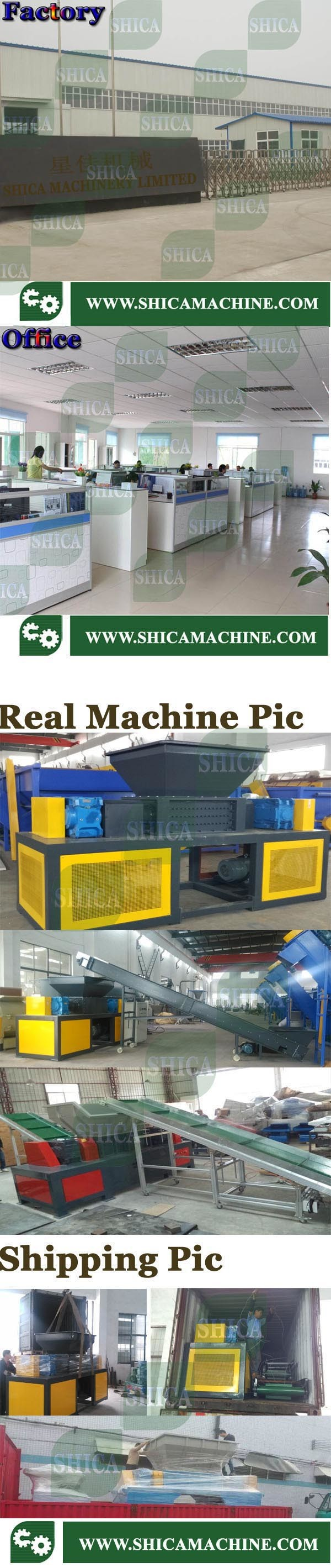 Recycle Rubber/ Plastic Drum/Plastic Film/ Bag/ Containertwo Shaft Powerful Granulator