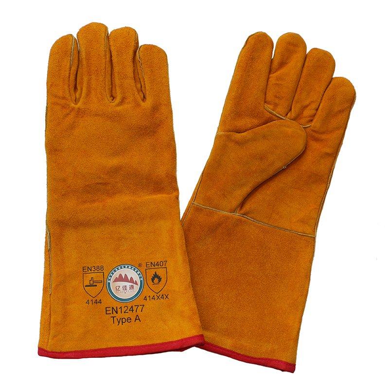 Boa Full Lining Cowhide Split Leather Winter Welding Gloves