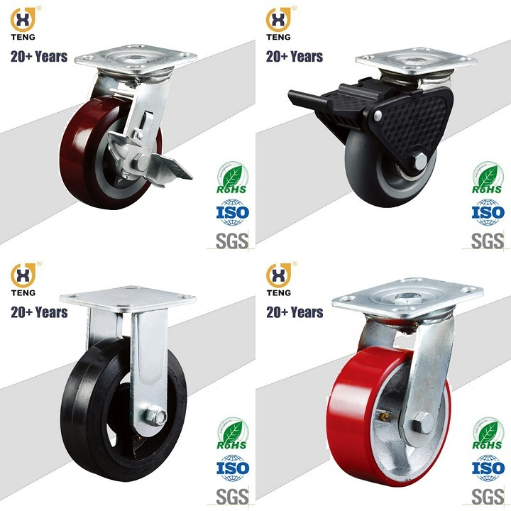 8-Inch Polyurethane (PU) on Cast Iron Core Wheel with 6204 Bearings