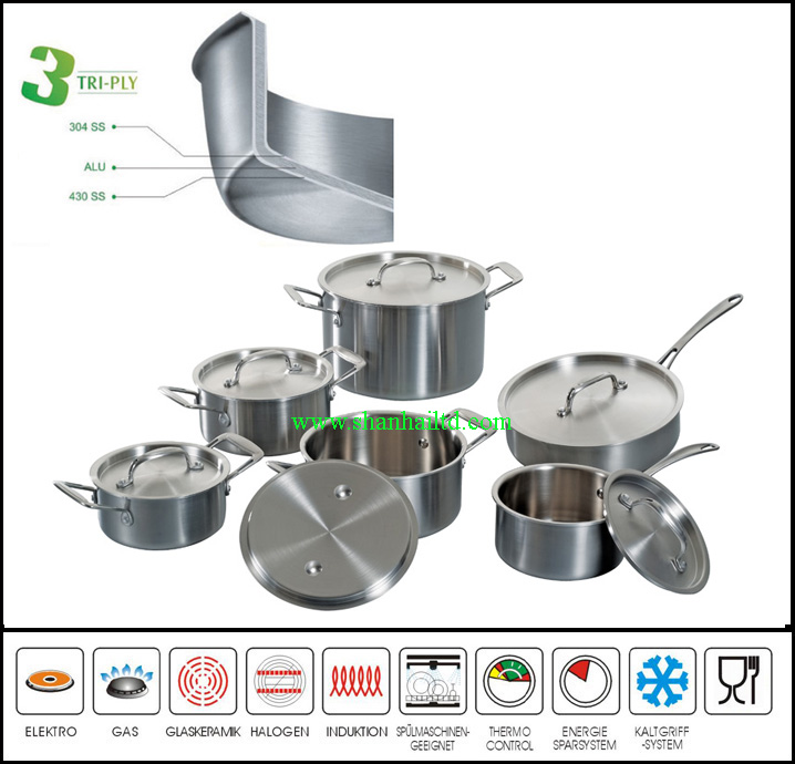 3 Ply Body All Clad Cookware Set Tri-Ply Stainless Steel Kitchenware