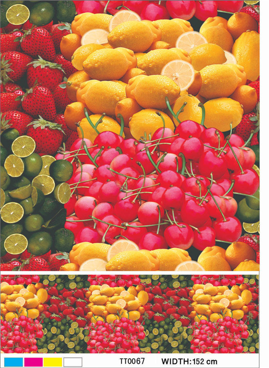 Colorful PVC Printed Transparent Tablecloth with Fruit Design for Home/Party/Outdoor