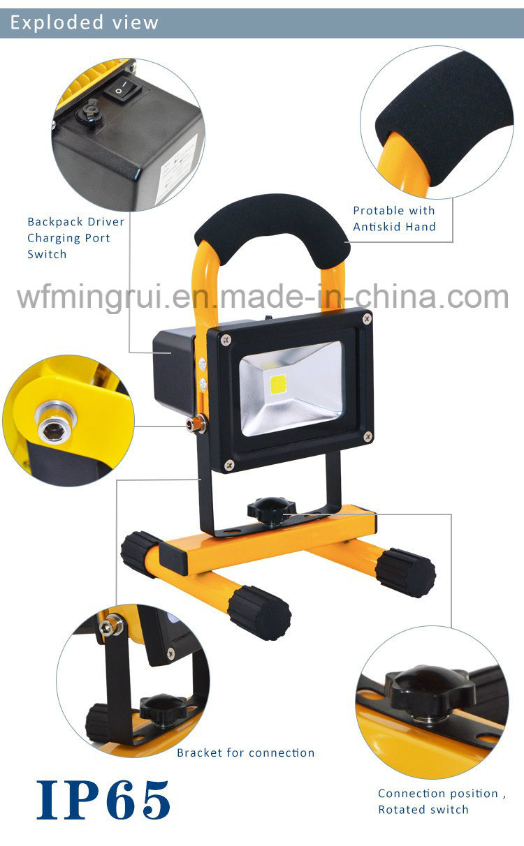 Rechargeable LED Floodlight LED Work Light with Ce, RoHS, SAA Certificates