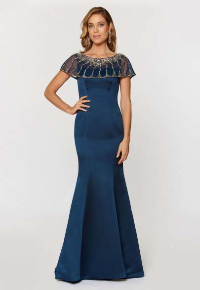 Trumpet Evening Dress with Pewter Accents