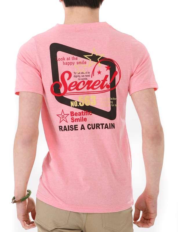 Pink Screen Cotton Fashion Wholesale Custom Men Tshirt