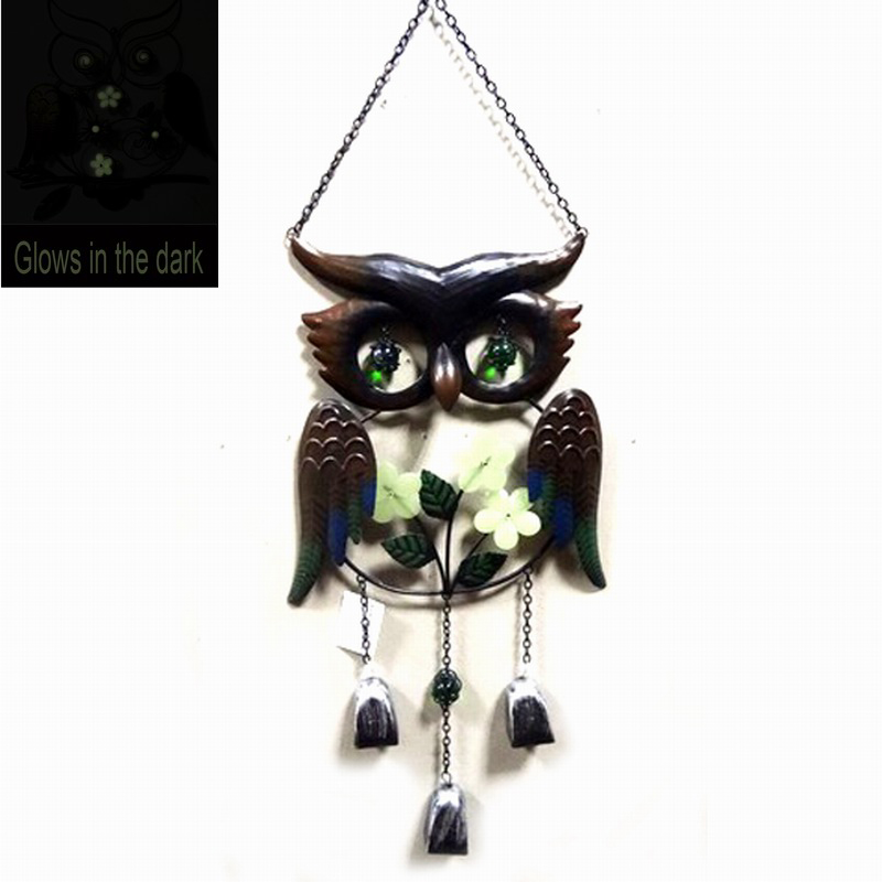 Metal Owl Windbell Craft Glows in The Dark Hanging Decoration