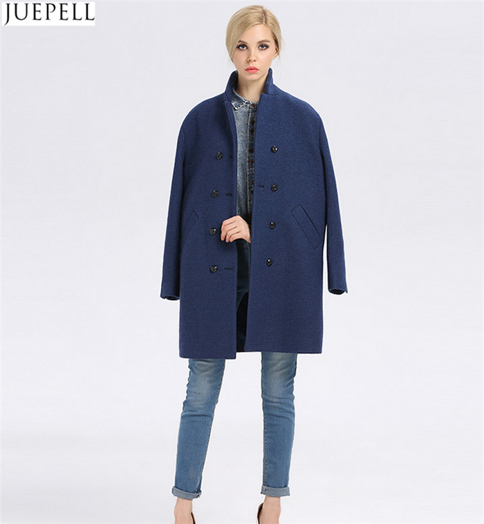 European Brand New Good Quality Women Winter Coat Long Double-Breasted Women's Windbreaker Blue Wool Coat