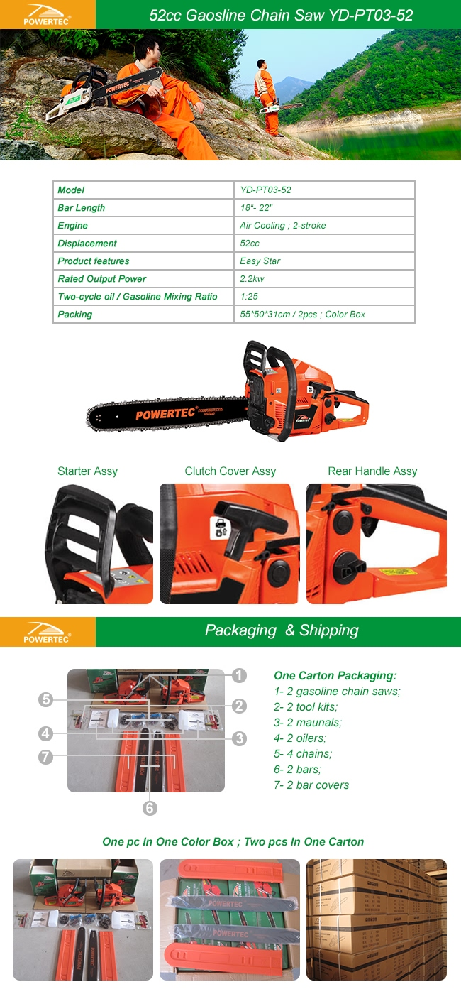 Powertec Gasoline Tools 2.2kw Wood Cutter Chainsaw