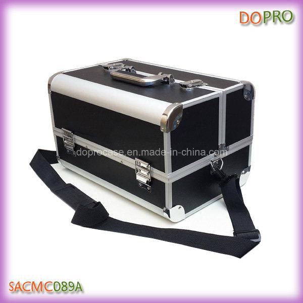 Large Matt Black PU Leather Aluminum Makeup Travel Case (SACMC089A)