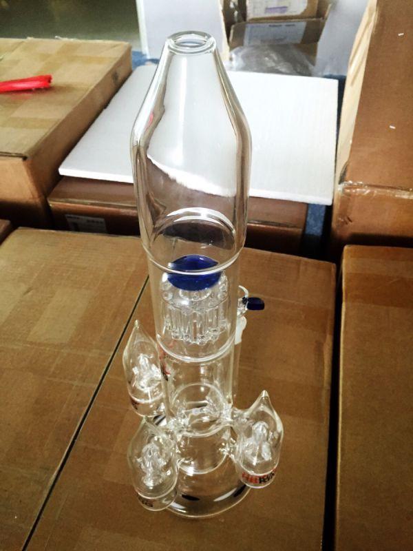 Rocket Shape Arm Tree Grand Glass Water Pipe Smoking Pipe Perc Multi Percolator Smoking Pipe Wholesale Price