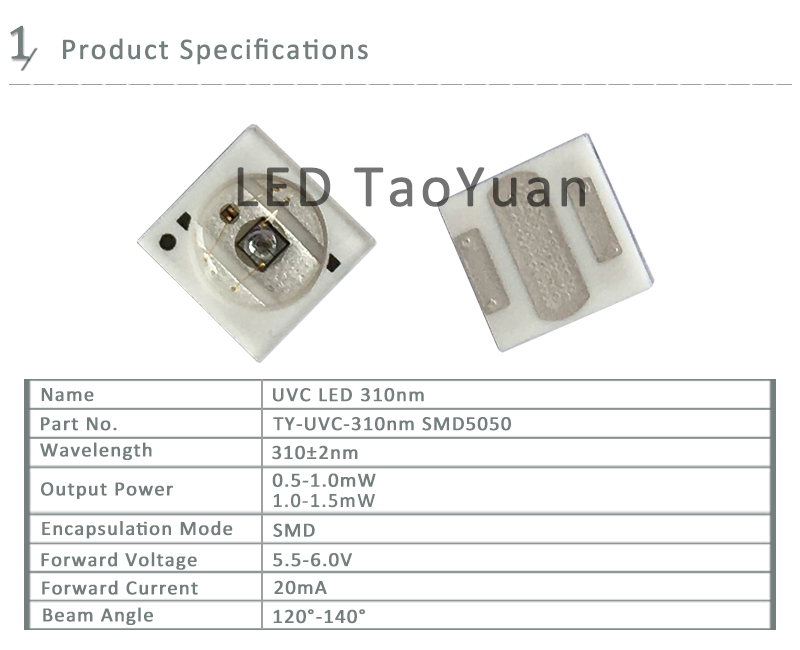 UV LED 310nm SMD 5050 Sterilization Water