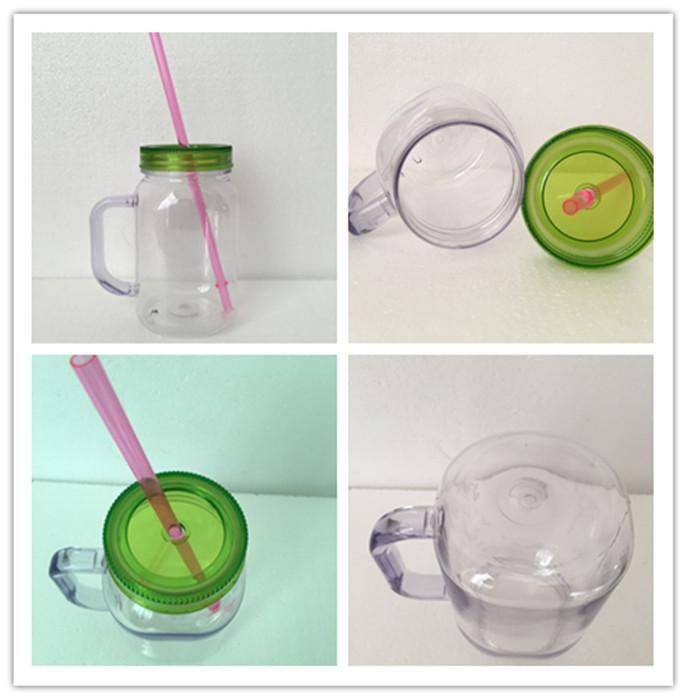 Double Wall Plastic Mason Jar Mug with Handle