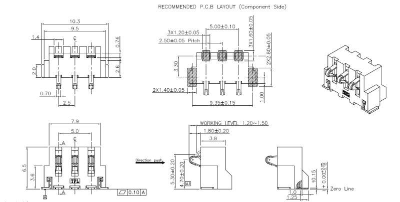 3pin 2A Surface PDA /GPS Battery Terminal Connectors