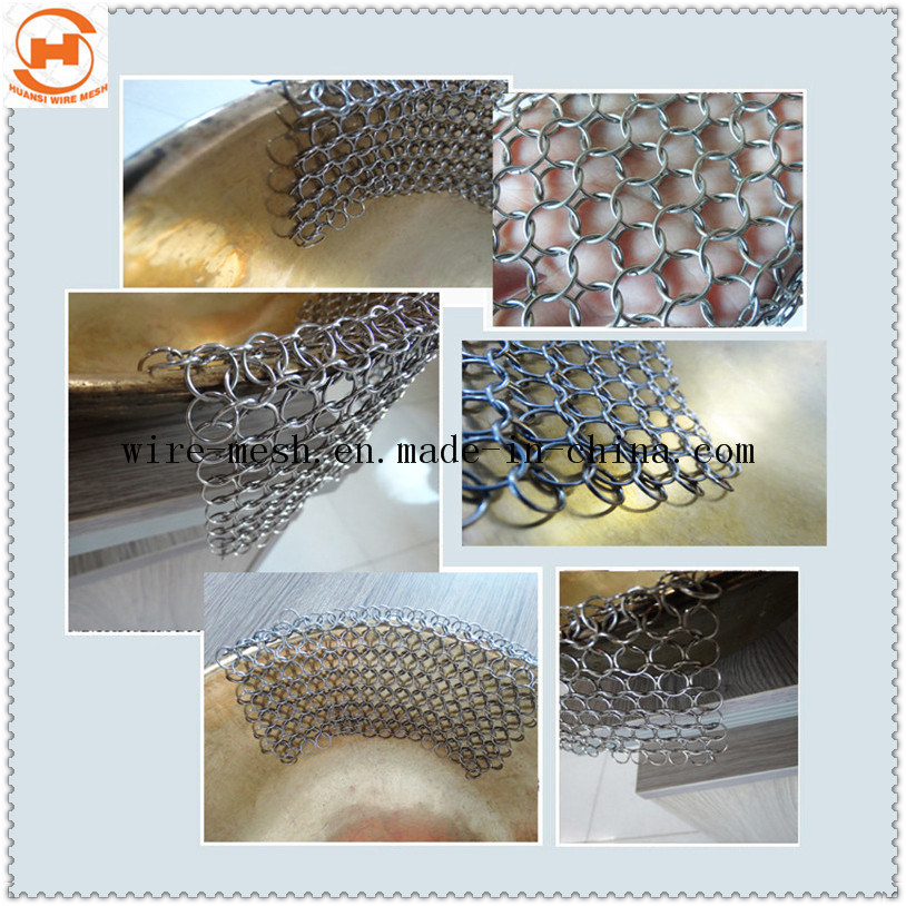 316 Stainless Steel Chain Mail Scrubber for Kitchenware Cast Cleaner
