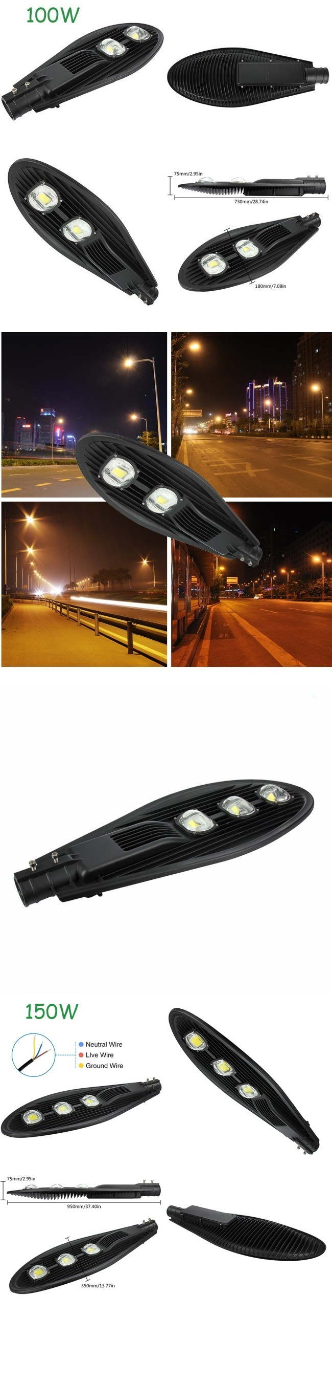 Ce RoHS 100W High Quality 12V 24V LED Solar Street Light