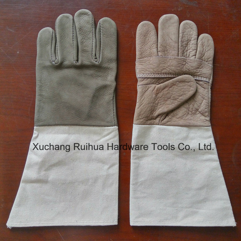 Kevlar Stitching Leather Working Gloves with Canvas Cuff, A Grade Unlined TIG MIG Leather Welding Gloves, Good Quality Cow Grain Leather Welder Gloves