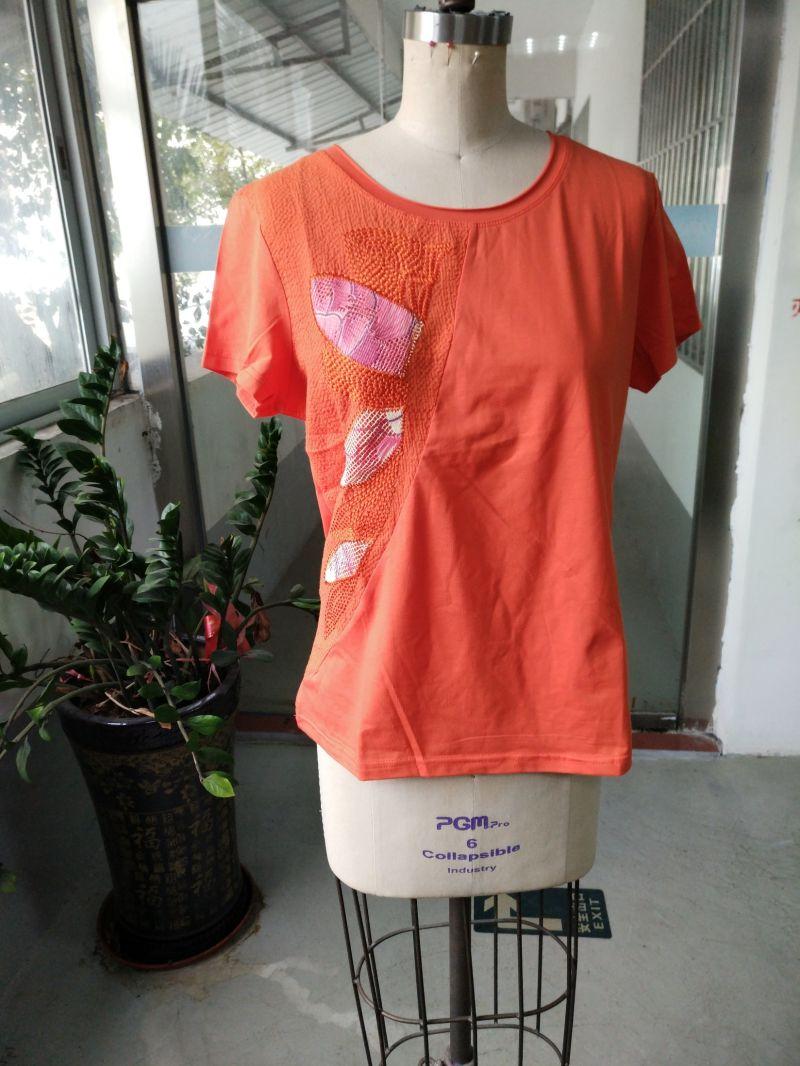 Orange Shiny Colourful Printed Flower Ladies T-Shirt Clothes