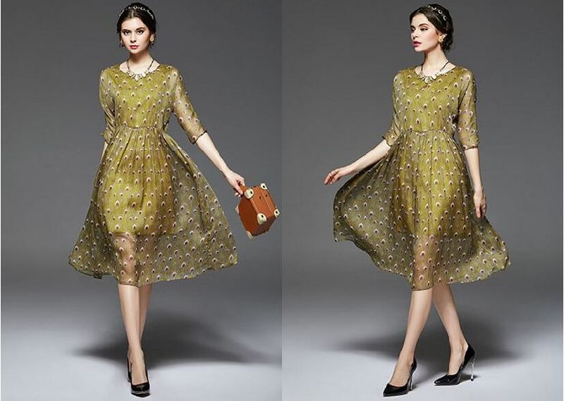 Summer Round-Neck Peacock Feather Pattern Women's Dress